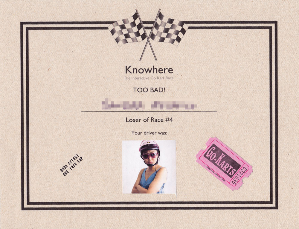 'Loser' Certificate of participation, Knowhere (2011) by Annie Onyi Cheung