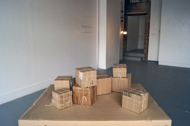 home away (2014 install view at Anna Leonowens Gallery), Annie Onyi Cheung