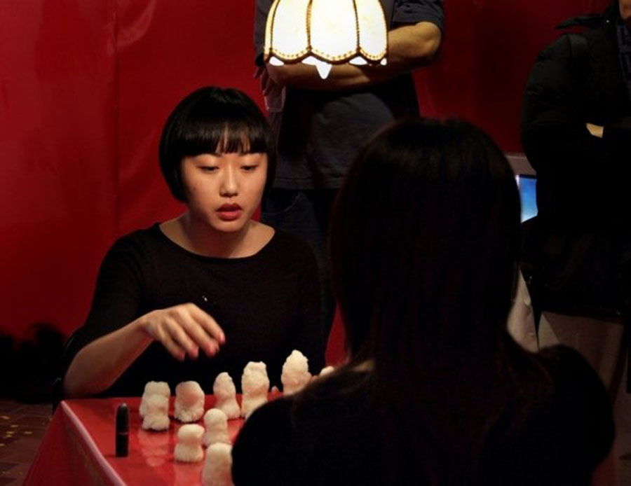 Post war 1, 2, skip a few (2008) by Risa Kusumoto and Annie Onyi Cheung,  video still by David Reyes